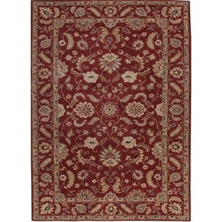 Hand-tufted Traditional Oriental Red Wool Rug (4' x 8')