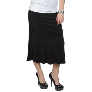 Tressa Designs Women's Long Beaded Applique Skirt