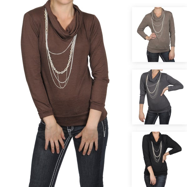 Journee Collection Women's Long-sleeve Cowl Neck Banded Top