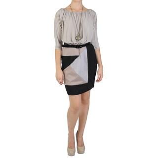 Sangria Women's Half-sleeve Scoop Neck Blouson Dress