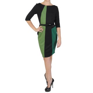 Sangria Women's Half-sleeve Color-blocked Ponte Dress