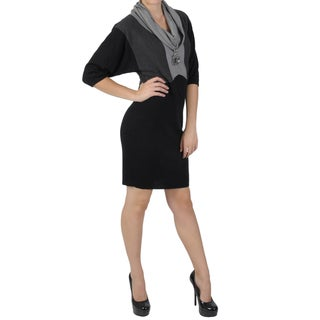 Sangria Women's Cowl Neck Colorblocked Three-quarter Sleeve Dress
