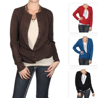 Journee Collection Women's Round Neck Button-up Cardigan