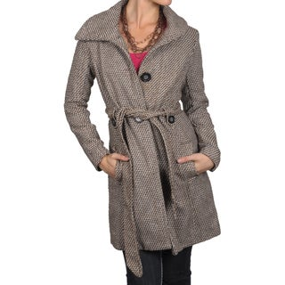 Journee Collection Junior's Long Brown Button-Down Belted Coat