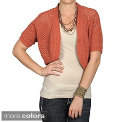 89th & Madison Brand Women's Open Crochet Half-sleeve Sweater
