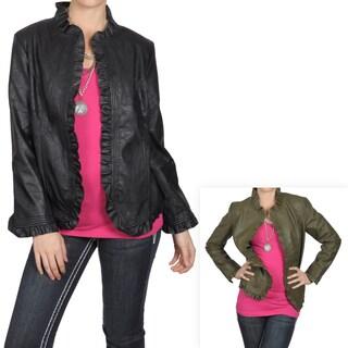 Journee Collection Women's Ruffle Detail Pleather Jacket