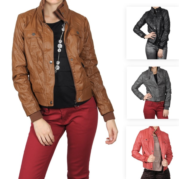 Journee Collection Junior's Topstitch High Collar Faux Leather Jacket