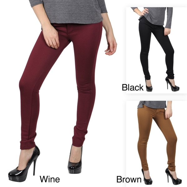 Journee Collection Juniors Stretchy Zipper Detail Skinny Pants