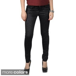 Journee Collection Juniors Tonal Leopard Print Skinny Pants