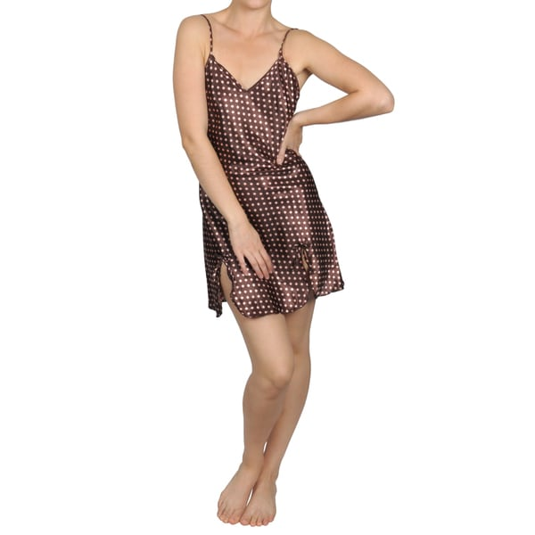 Hailey Jeans Co. Women's Polka-dot Print Satin Chemise Nightie