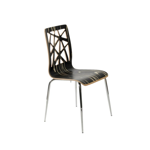 Sarah Tiger Laminated Wood and Chromed Steel Side Chairs (Set of 2)