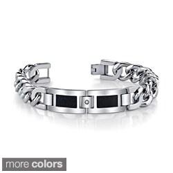 Stainless Steel Men's Cubic Zirconia Link-Style Bracelet