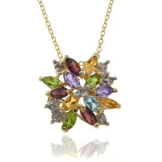 Dolce Giavonna Gold over Sterling Silver Multi-gemstone and Diamond Accent Pendant with Red Bow Gift Box