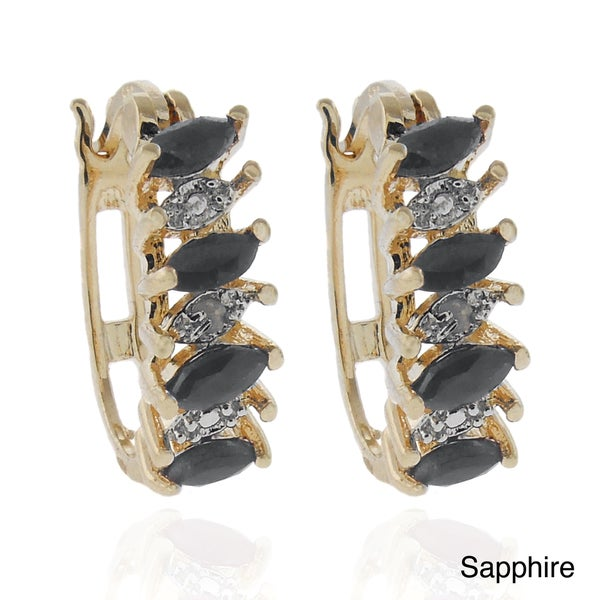 Dolce Giavonna Gold over Sterling Silver Gemstone and Diamond Accent Hoop Earrings