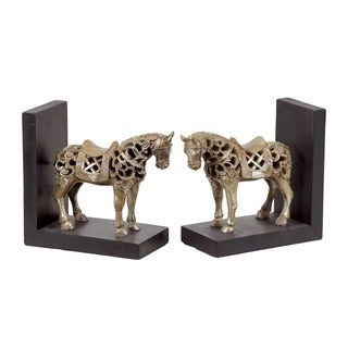 Urban Trends Collection 7-inch Champagne Finish Resin Horse Bookends