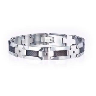 Tungsten/ Steel Men's 1/3ct TDW Black Diamond/ Carbon Fiber Bracelet
