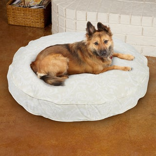 Sweet Dreams Beige Damask Round Corded Pet Bed