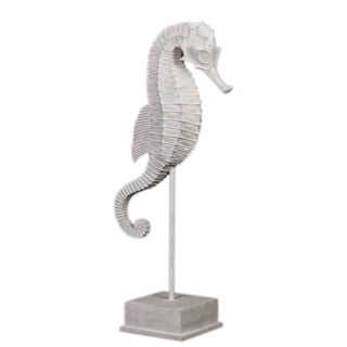 Urban Trends Collection White Resin Seahorse on Stand