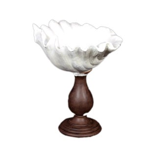 Urban Trends Collection Small White Resin Seashell Vase on Stand