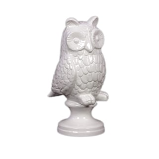 White Ceramic Owl on Stand