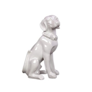 White Ceramic Sitting Dog
