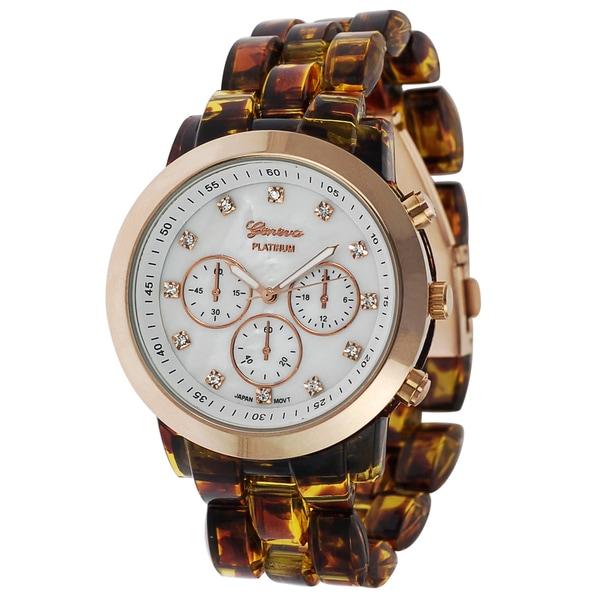 Geneva Platinum Women's Tortoise Link Watch