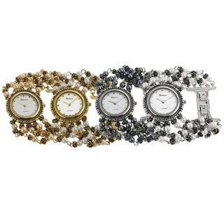 Geneva Platinum Faux Pearl Watch
