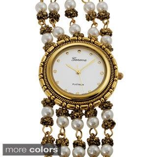 Geneva Platinum Faux Pearl Watch