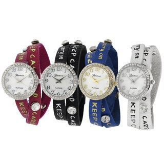 Geneva Platinum Studded Wrap Mineral Crystal Watch