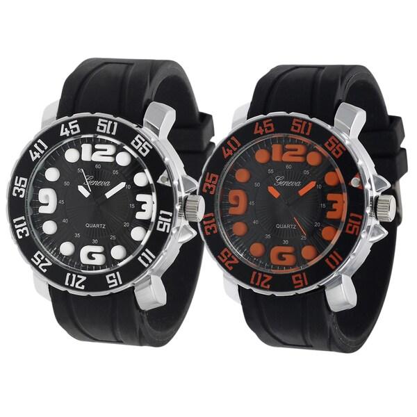 Geneva Platinum Silicone Strap Watch
