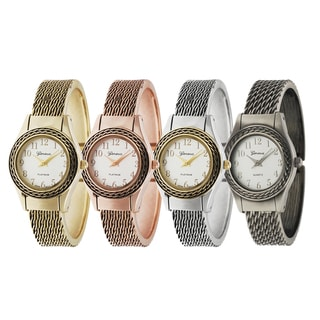 Geneva Platinum Round Face Cuff Watch