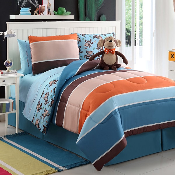 VCNY Monkey Reversible 4-piece Comforter Set