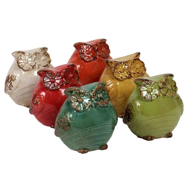 Urban Trends Collection 5-inch Ceramic Owls (Set of 6)