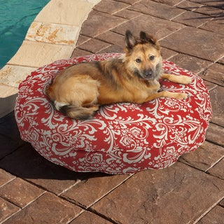 Sweet Dreams Red Damask Indoor/ Outdoor Round Corded Pet Bed