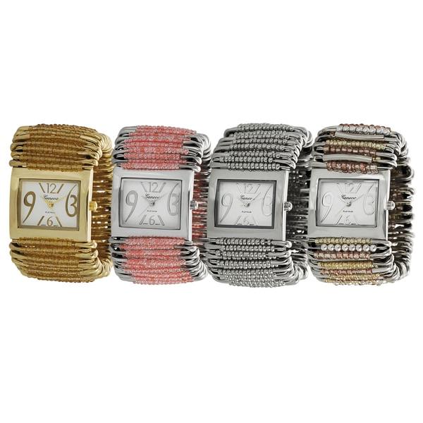 Geneva Platinum Beaded Safety Pin Stretch Watch
