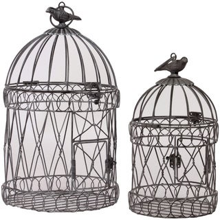 Urban Trends Collection Round Metal Bird Cages (Set of 2)