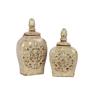 Urban Trends Collection Antique White Ceramic Jars with Lids (Set of 2)