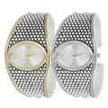 Geneva Platinum Studded Cuff Watch