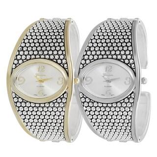 Geneva Platinum Studded Cuff Watch