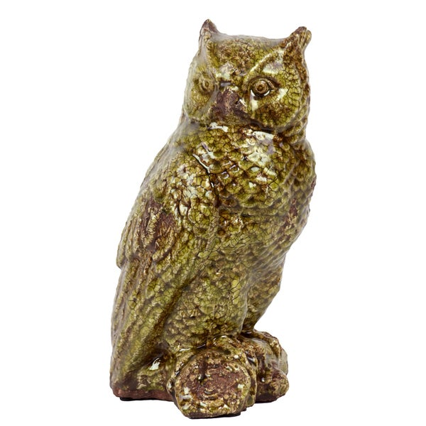 Urban Trends Collection Antique Green Glazed Ceramic Owl Accent Piece