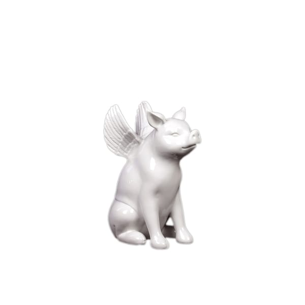 Urban Trends Collection White Winged Ceramic Pig