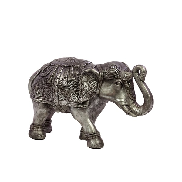 Urban Trends Collection Silver Small Resin Elephant