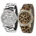 Geneva Platinum Rhinestone Animal Print Watch