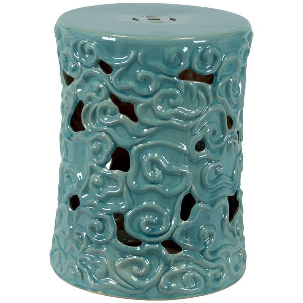 Urban Trends Collection Ceramic Garden Stool Turquoise