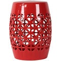 Urban Trends Collection Red Ceramic Garden Stool Open Work