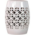 Urban Trends Collection Whtie Ceramic Garden Stool Open Work