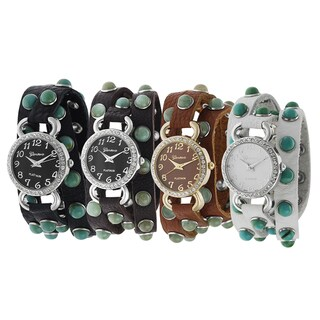 Geneva Platinum Rhinestone Wrap Watch