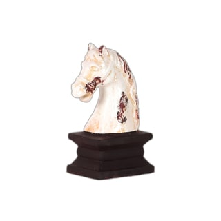 Antique White Ceramic Horse Head on The Stand