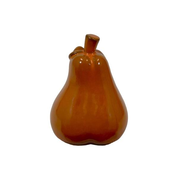 Large Orange Ceramic Pear