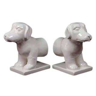 White Ceramic Dog Bookend (Set of 2)